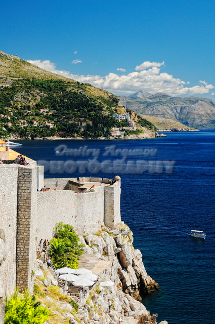 View on the coast of Mediterranean sea from the Walls of Old City of Dubrovnik