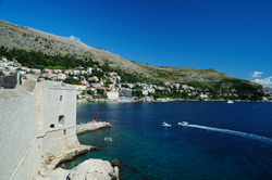 View on the coast of Mediterranean sea from the Walls of Old City Dubrovnik