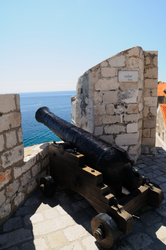 Ancient cannon at the Walls of Old City of Dubrovnik