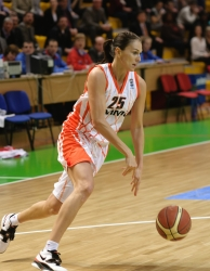 Svetlana Abrosimova #25 drives with the ball