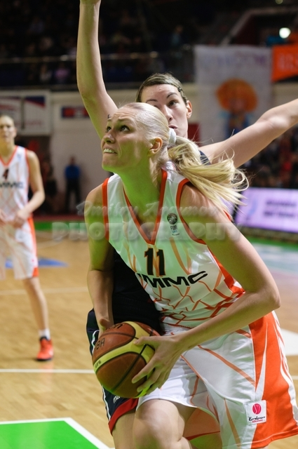 Maria Stepanova #11 attacks defended by Elodie Godin #13